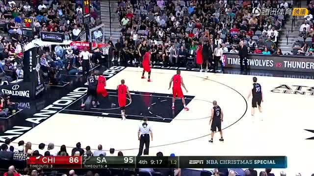 12月26日NBA圣诞大战 公牛vs马刺 第四节 录像