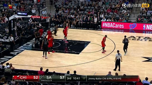 12月26日NBA圣诞大战 公牛vs马刺 第三节 录像