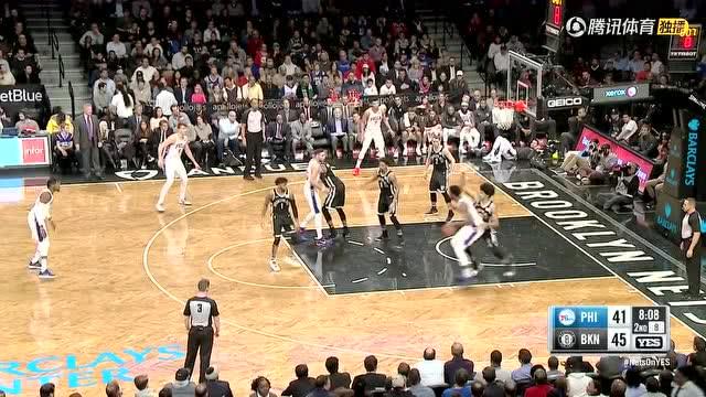 费城vs篮网第二节精编:西蒙斯穿越两人反身暴扣
